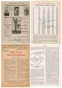 Exhibit 9: Four examples of the dozens of baseball-related pages from publications onto which Al Stump forged Ty Cobb&#039;s autograph and comments attributed to Ty Cobb. These four were again offered at auction in May 2009 but withdrawn when experts notified the auction service that they were forgeries.